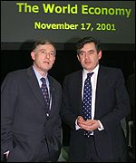 Horst Koehler , IMF managing director, and Gordon Brown, UK Chancellor of the Exchequer