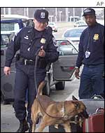 Sniffer dogs at US airport