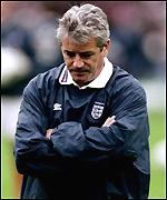 A dejected Kevin Keegan reflects on England's defeat to Germany at Wembley
