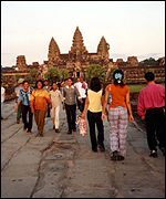 Tourists in Cambodia