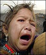 Crying refugee child
