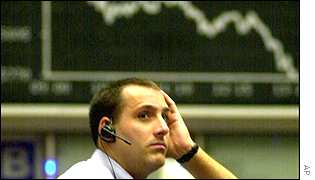 A trader in the Frankfurt Stock Exchange