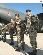 French troops board aircraft