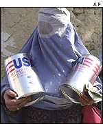 Woman collects aid from a UN base in Kabul