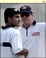 Indian captain Sourav Ganguly and coach John Wright