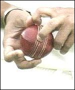 Television pictures show Tendulkar with the ball