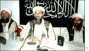 Saudi-born dissident Osama Bin Laden (C) with deputies Ayman Al-Zawahiri (L), and Mohamed Atef (R)