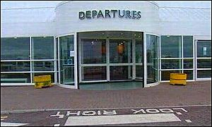 The entrance doors to Cardiff Airport