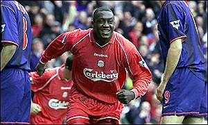 Liverpool striker Emile Heskey is all smiles after scoring his first goal in 20 games against Sunderland
