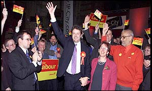 Labour candidate Chris Mole (centre)