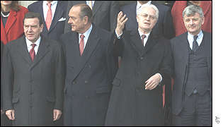 Gerhard Schroeder, Jacques Chirac, Lionel Jospin and Joshka Fischer in Nantes