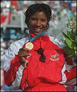 Denise Lewis shows off her first Commonwealth gold medal in 1994