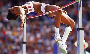 Denise Lewis clears the high jump bar on her way to winning the gold medal at the Sydney Olympics in 2000