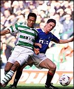 Celtic's Bobby Petta and Maurice Ross of Rangers