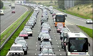 Traffic jam on the M5 near Bristol, August 2001