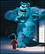 Monsters Inc features the voices of John Goodman and Billy Crystal