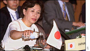 Japanese Foreign Minister Makiko Tanaka at a summit meeting