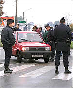 Police outside the Pessac mint