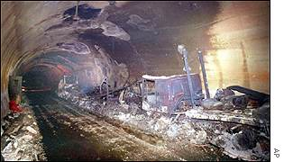 Wreckage of vehicles inside the Mont Blanc tunnel