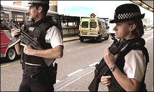 Armed British police officers