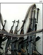 Machine guns at market stall in Somalia