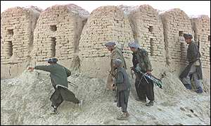Northern Alliance troops around Qala-e-Jhangi fortress