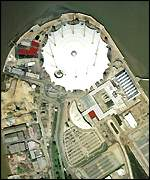An aerial shot of the Millennium Dome at Greenwich