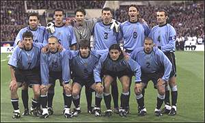 Uruguay line up for a team photo at the Melbourne Cricket Ground