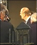 Prince Philip was shown inside one of the square's houses