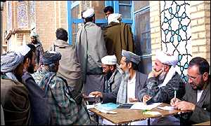 Voters at Herat's main mosque