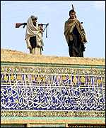 Northern Alliance soldiers on top of the mosque