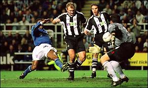Alan Shearer scores his 100th goal for Newcastle