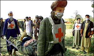 Red Cross worker with stretcher