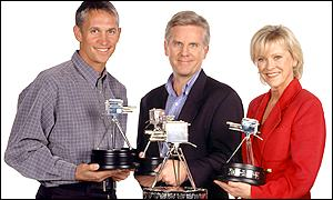 Sports Review presenters Gary Lineker, Steve Rider and Sue Barker with the trophy