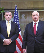 Anthony Zinni and Israeli Prime Minister Ariel Sharon