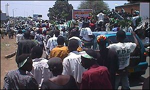 Supporters stream into Lusaka