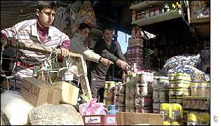 Iraqi vendors at a market in Baghdad