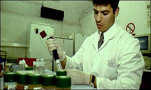 Drug testing urine samples at Kings College, London