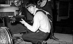 Harrison found fame with The Beatles in 1963