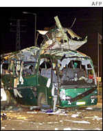 A bus destroyed by a bomb
