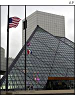 The flag at Cleveland's Rock and Roll Hall of Fame flies at half mast