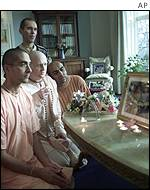 Devotees in the Hare Krishna Temple, Letchmore Heath, England