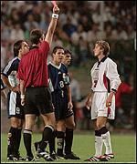 England midfielder David Beckham is sent off