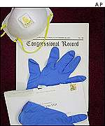 Gloves and face masks have been distributed at the US Senate