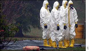 Decontamination crew outside Ottilie Lundgren's home