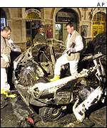 Car bomb wreckage