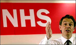 Tony Blair addresses NHS workers in May 2001