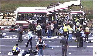 Wreckage of bus in Haifa