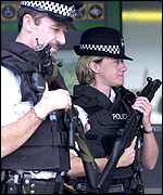 Armed British police at Heathrow airport