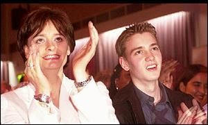 Cherie Blair and Euan applaude speech by Tony Blair during 2001 election campaign